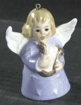 1978 Angel With Harp Bell Orn, Blue