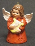 1978 Angel With Harp Bell Orn, Rust