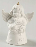 1978 Angel With Harp Bell Orn, White
