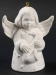 1980 Angel With Saxaphone Bell Orn, White