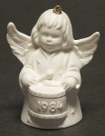 1984 Angel With Drum Bell Orn, White