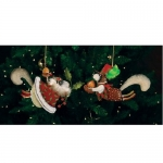 Tin Mr & Mrs Squirrel Orn., Set of 2