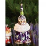Party Hat Cat Glass Orn, Purple