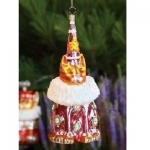 Party Hat Cat Glass Orn, Red