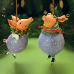 Fred & Esther Pig Ornament, Set of 2
