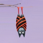 Beatrice Bat Ornament, Red Striped