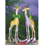 George & Janet Giraffe Orn., Set of 2