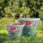 Flowers with Swirl Pattern Planters