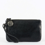 Classic Black Leather Wristlet