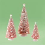 Pink Sisal Trees with Pearls, Set of 3