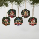 Wreath Disk Ornament Set of 5