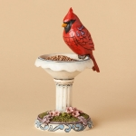 Cardinal with Birdbath - Red And Radiant