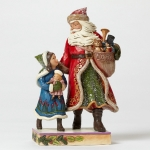 Victorian Santa Walking with Child