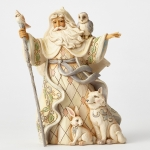 White Woodland Santa with Cane