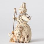 White Woodland Snowman with Fox