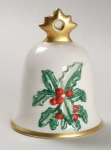 1990 Annual Christmas Bell Ornament, Holly & Berries