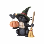 Mini Witch Cat with Pumpkin